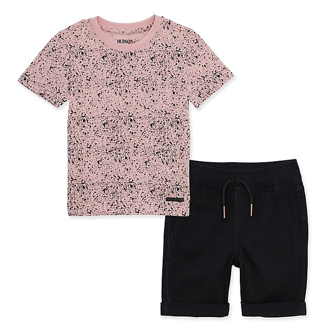 Alternate image 1 for Hudson Kids 2-Piece Paint Splatter Shorts Set