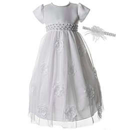 Lauren Madison 2-Piece Pearl Christening Dress and Headband Set
