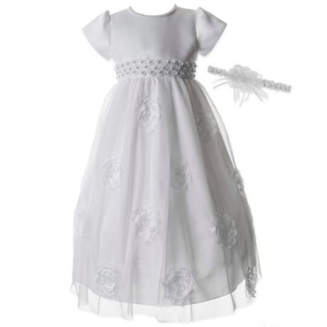 1b3ef3d72 Lauren Madison 2-Piece Pearl Christening Dress and Headband Set | buybuy  BABY