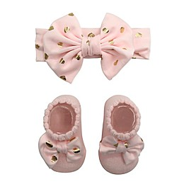 Curls & Pearls Fashion Booties and Headband Set in Pink