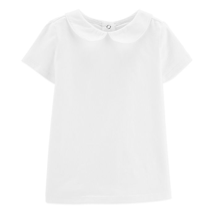 Alternate image 1 for carter's® Peter Pan Short Sleeve Top in White