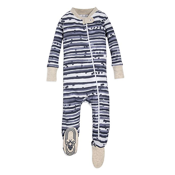 Alternate image 1 for Burt's Bees Baby® Starry Stripes Footie in Blue
