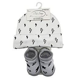 Baby Lounge 2-Piece Lightning Beanie and Socks Set in White