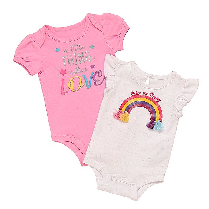 Alternate image 1 for Baby Starters® 2-Pack Rainbow Speckle Bodysuits