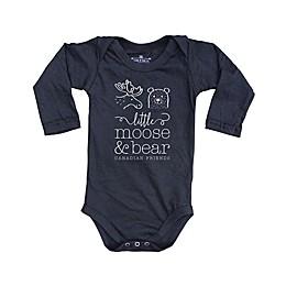 Little Moose and Bear® Logo Bodysuit in Black