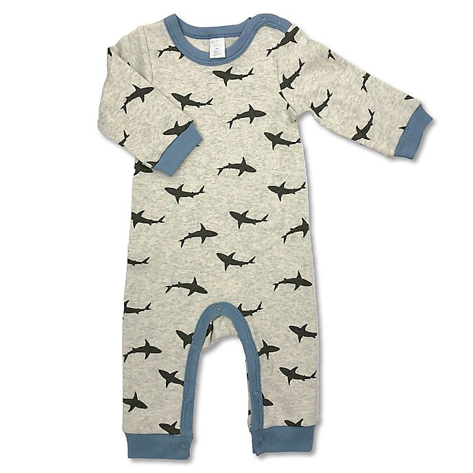 Alternate image 1 for Modern Baby® Sharks Coverall in Beige Multi