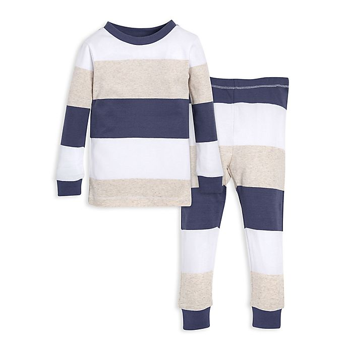 f66ac41e519b Burt s Bees Baby® 2-Piece Rugby Stripe Pajama Shirt and Pants Set in ...