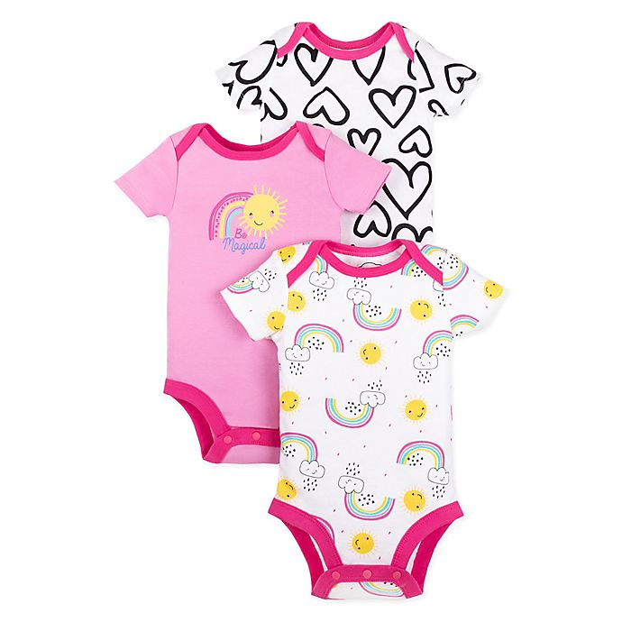 Alternate image 1 for Lamaze® Size 3M 3-Pack Heart and Rainbow Bubble Rompers