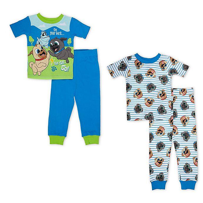 Alternate image 1 for Disney® 4-Piece Puppy Dog Pals Pajama Set in Blue/White