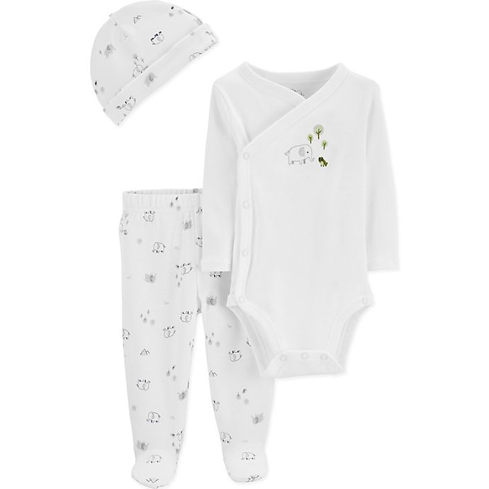 Alternate image 1 for Little Planet™ Organic by carter's® Size 6M 3-Piece Elephant Set in White