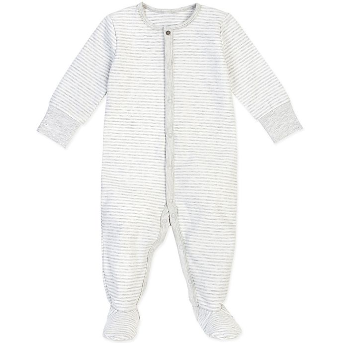 Alternate image 1 for Petit Lem® Striped Organic Cotton Footie in Grey