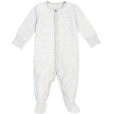 Petit Lem® Striped Organic Cotton Footie in Grey