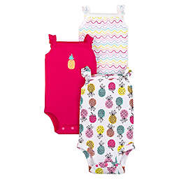 Lamaze® 3-Pack Pineapple Flutter Sleeve Organic Cotton Bodysuits