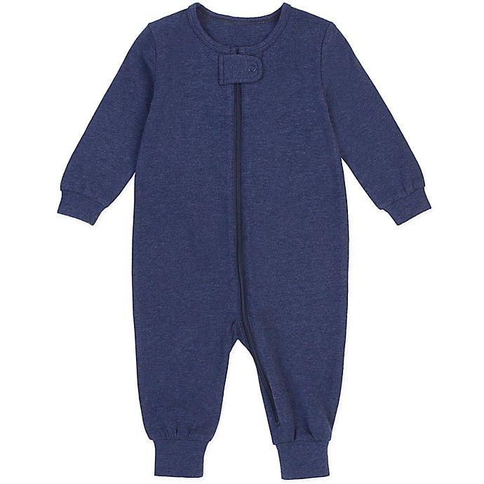 Alternate image 1 for Petit Lem® Organic Cotton Coverall in Heather Navy