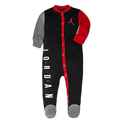 Jordan Snap-Up Footed Coverall in Black/Red