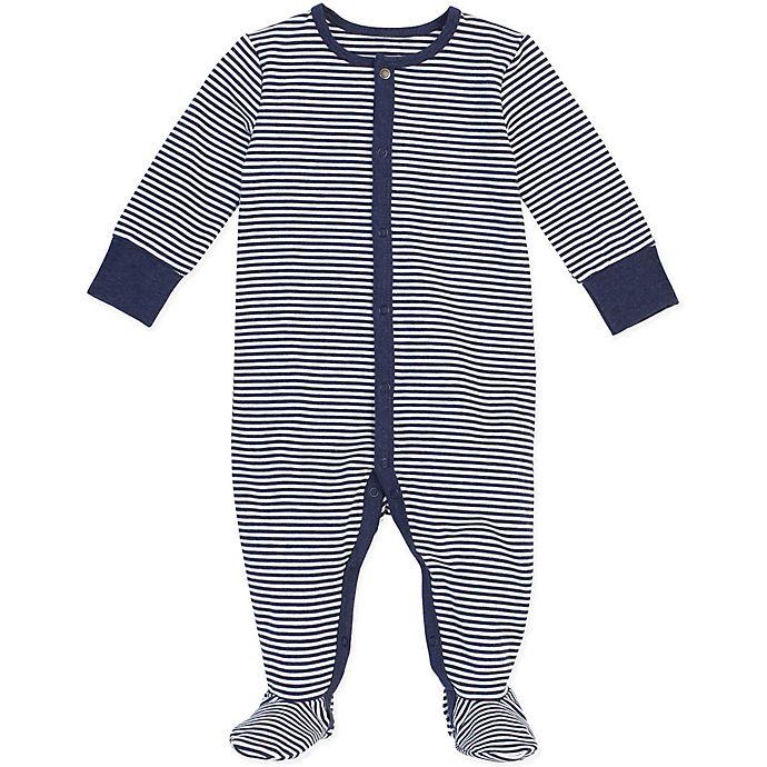 Alternate image 1 for Petit Lem® Striped Organic Cotton Footie in Navy