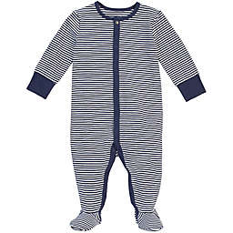 Petit Lem® Size 9M Striped Organic Cotton Footie in Navy