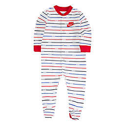 Nike® Striped Footed Coverall in White/Red