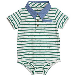 Sovereign Code™ Stripe Textured Polo Bodysuit in Mint