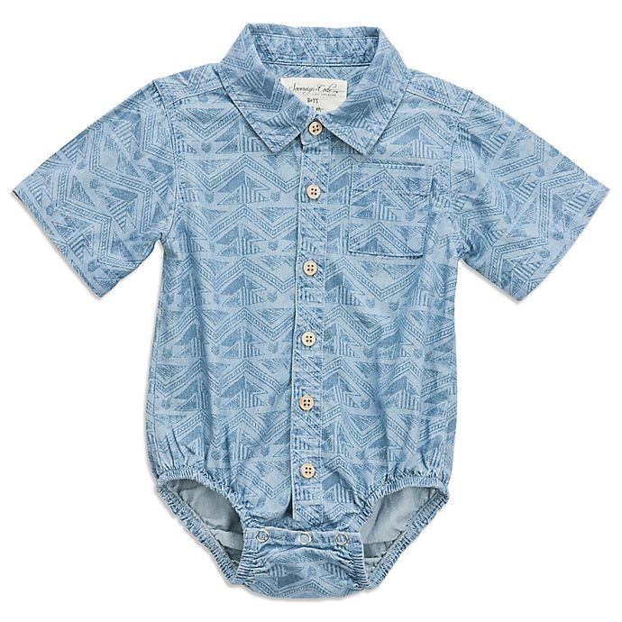 Alternate image 1 for Sovereign Code® Size 3-6M Geometric Chambray Bodysuit in Blue