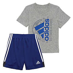 Adidas® 2-Piece Tee and Shorts Set in Grey and Royal Blue