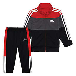 adidas® 2-Piece Tres Jacket and Pant Set in Red/Grey/Black