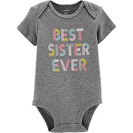 "carter's® ""Best Sister Ever"" Bodysuit in Heather Grey"