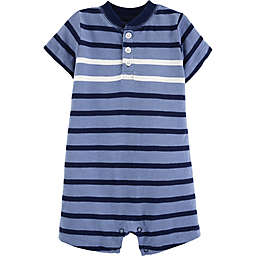 carter's® Striped Slub Henley Romper in Blue