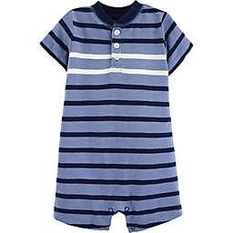 carter's® Striped Slub Henley Romper in Blue