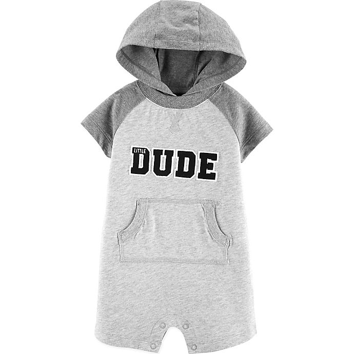 Alternate image 1 for carter's® Size 18M Little Dude Hooded Romper in Grey