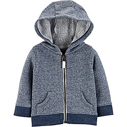 carter's® Zip-Front Marled Yarn French Terry Hoodie in Navy