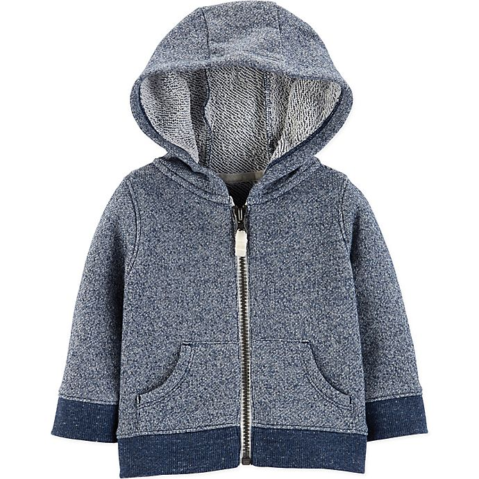Alternate image 1 for carter's® Zip-Front Marled Yarn French Terry Hoodie in Navy