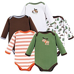 Luvable Friends® 5-Pack Long Sleeve Moose Bodysuits