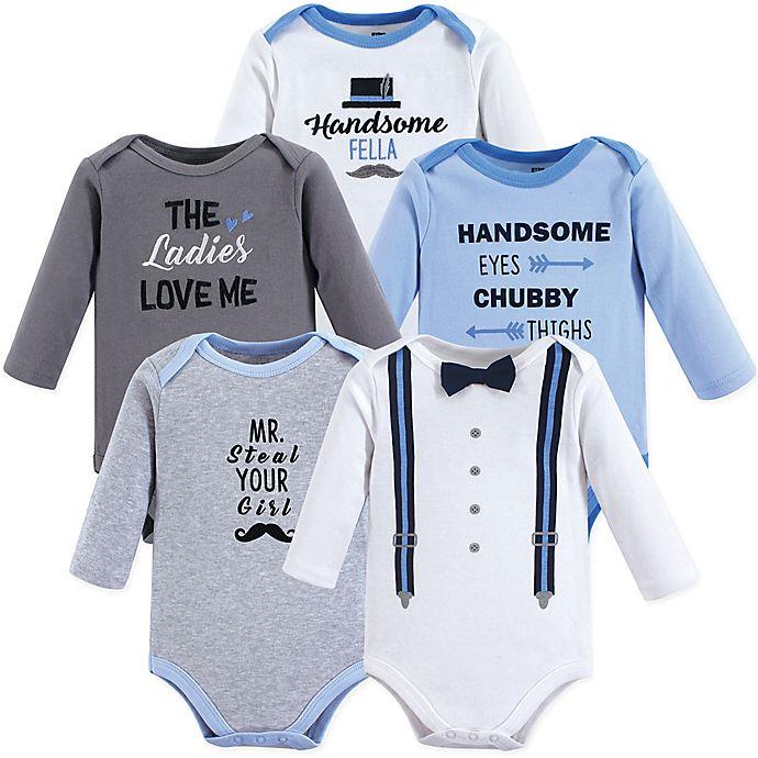 Alternate image 1 for Hudson Baby® 5-Pack Long Sleeve Handsome Fella Bodysuits