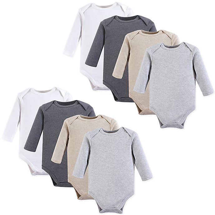 Alternate image 1 for Hudson Baby® 8-Pack Long Sleeve Solid Bodysuits
