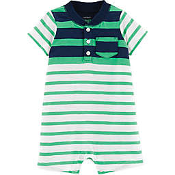 carter's® Striped Henley Romper in Green