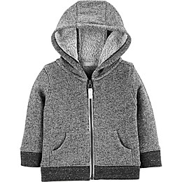carter's® Marled Yarn Zip-Up Hoodie in Black/Grey