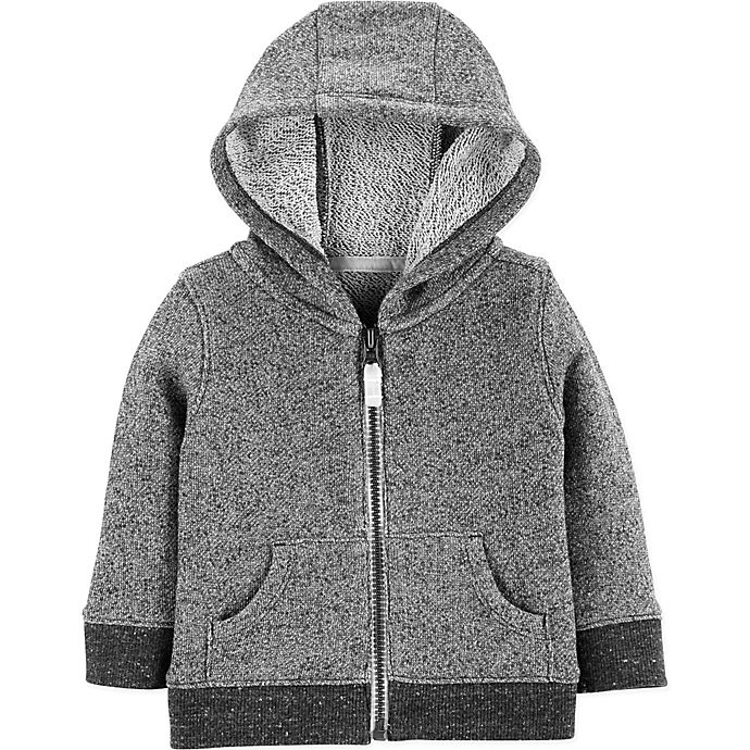 Alternate image 1 for carter's® Marled Yarn Zip-Up Hoodie in Black/Grey