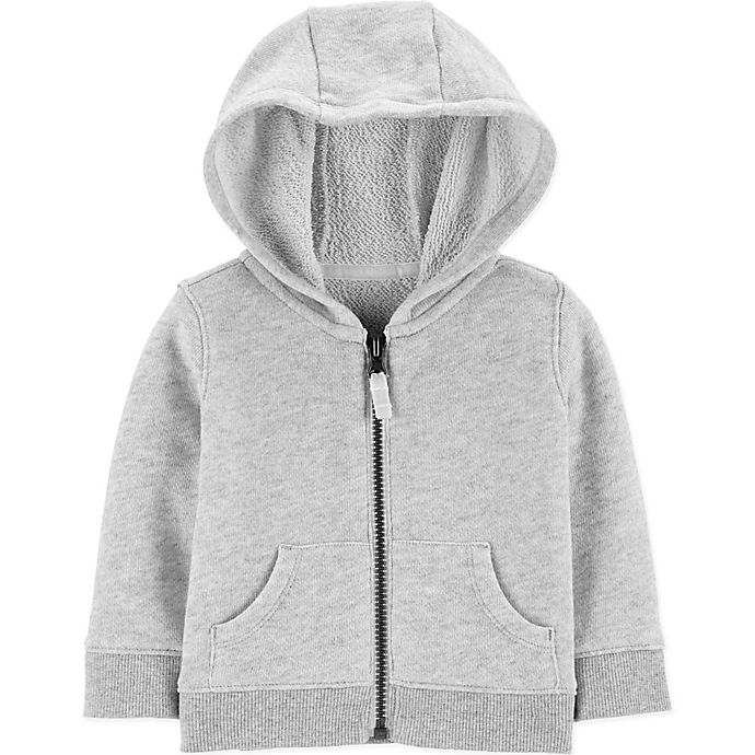 Alternate image 1 for carter's® Zip-Front Marled Yarn French Terry Hoodie in Grey
