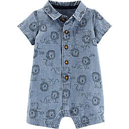 carter's® Button-Front Chambray Lion Romper in Blue