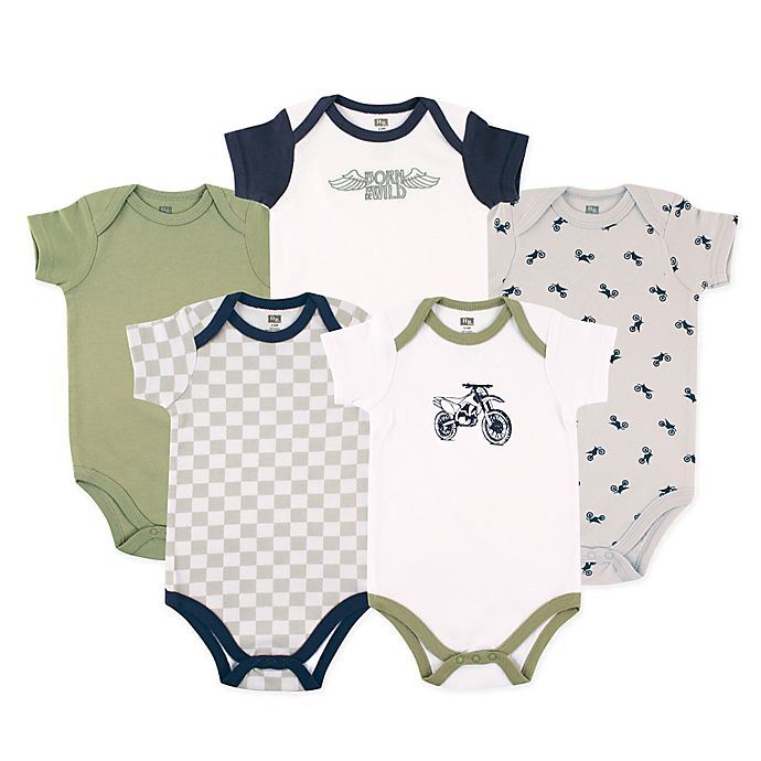Alternate image 1 for Luvable Friends® Size 18-24M 5-Pack Dirt Bike Bodysuits