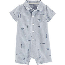 carter's® Button-Front Striped Schiffli Romper in Blue