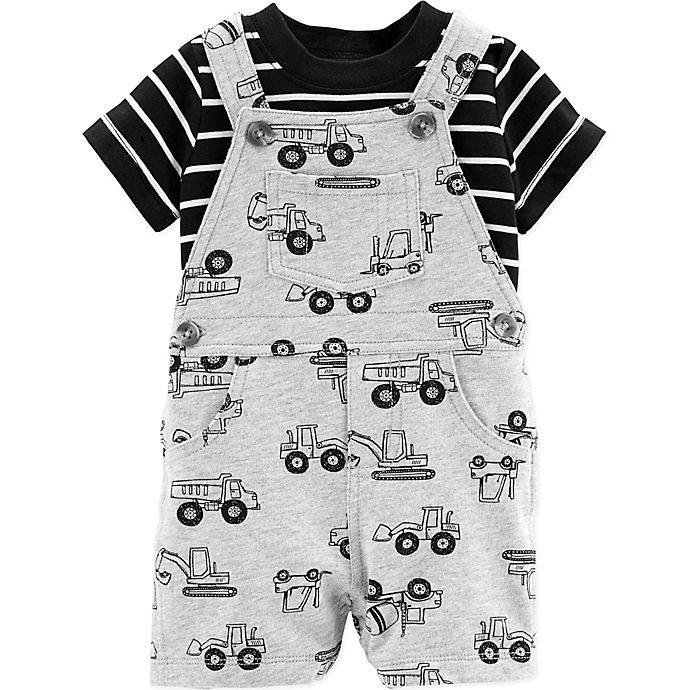 Alternate image 1 for carter's® 2-Piece Construction Shirt and Shortall Set in Grey