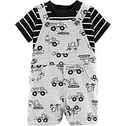 carter's® 2-Piece Construction Shirt and Shortall Set in Grey
