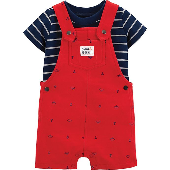 Alternate image 1 for carter's® 2-Piece Striped Shirt and Anchor Shortall Set in Red