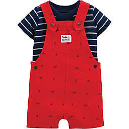 carter's® 2-Piece Striped Shirt and Anchor Shortall Set in Red