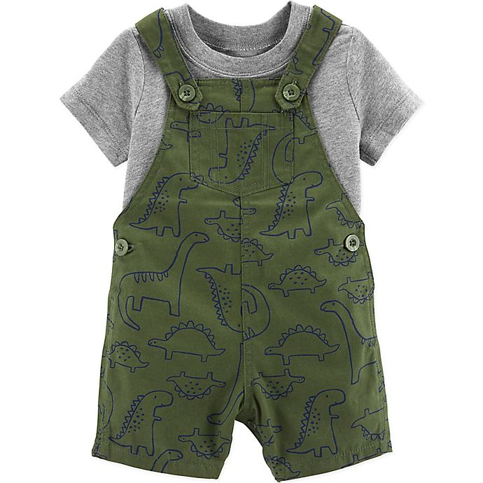 Alternate image 1 for carter's® 2-Piece Shirt and Dinosaur Shortall Set in Olive