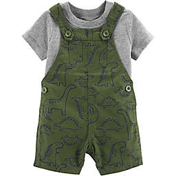 carter's® 2-Piece Shirt and Dinosaur Shortall Set in Olive