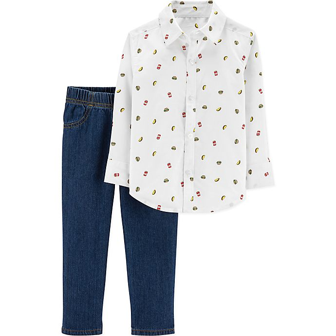 Alternate image 1 for carter's® 2-Piece Food Print Shirt and Pants Set in White