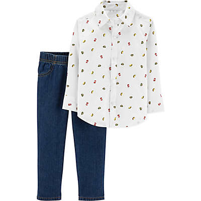 carter's® 2-Piece Food Print Shirt and Pants Set in White